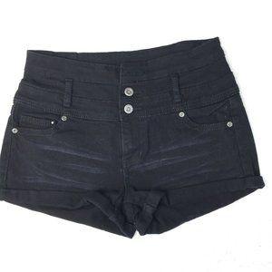 1st Kiss Black Denim High Waist Shorts